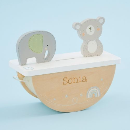 Personalized Wooden Bear and Elephant Rocking Money Box