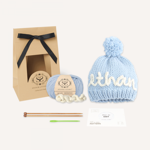 Personalise Your Own Stitch & Story Light Blue Bobble Hat Knitting Kit