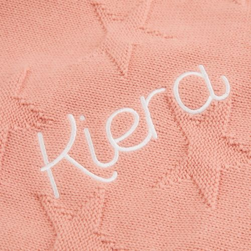 Personalized Coral Star Jacquard Blanket