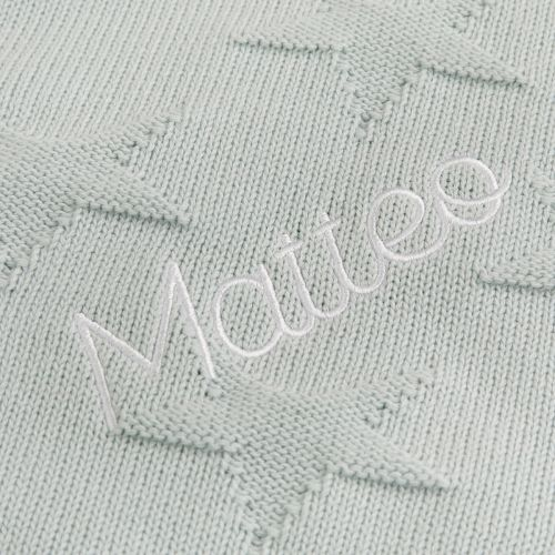 Personalized Mint Star Jacquard Blanket