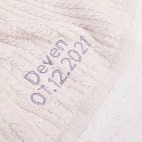 Personalised Cream Fur Lined Cable Knit Blanket