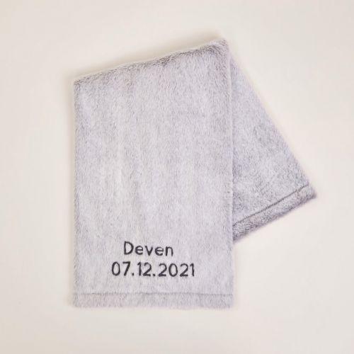 Personalised Grey Faux Fur Blanket