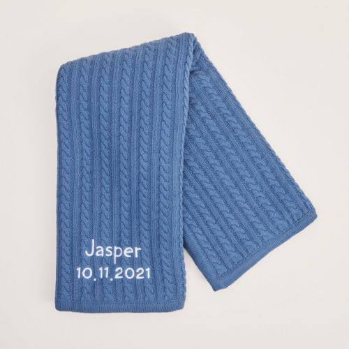 Personalised Navy Blue Fur Lined Cable Knit Blanket