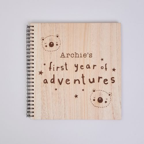 Personalised 'First Year' Wooden Scrapbook