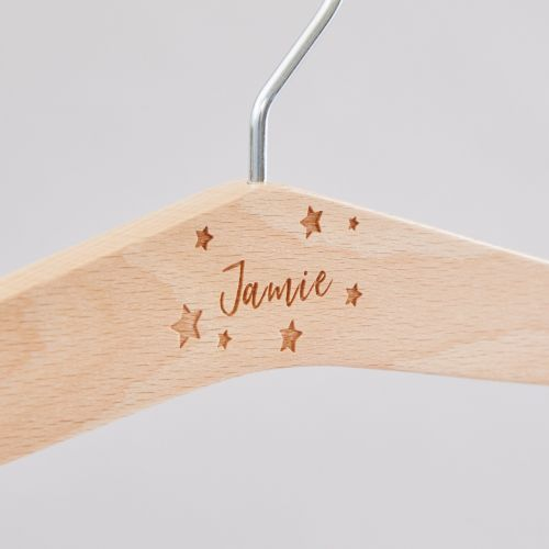 Personalised Star Wooden Clothes Hanger