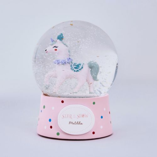 Personalised Pink Unicorn Snow Globe