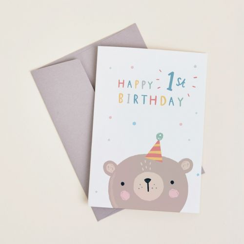 Personalised Little Bear's 1st Birthday Card
