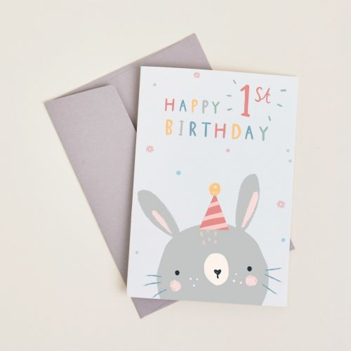 Personalised Little Bunny's 1st Birthday Card