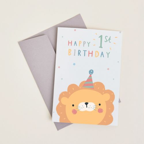 Personalised Little Lion's 1st Birthday Card