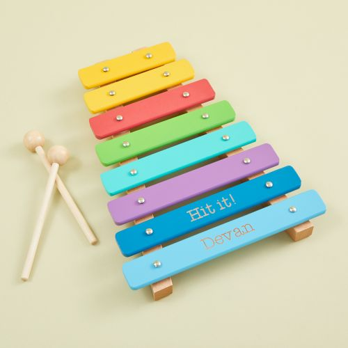 Personalised Colourful Wooden Xylophone Toy