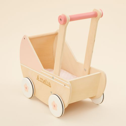 Personalized Pink Wooden Dolls Stroller