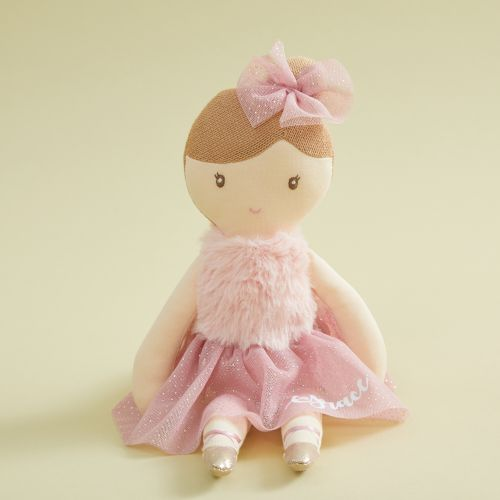 Personalized Ballerina Doll in Dark Pink Dress