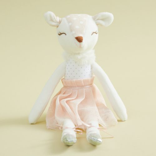 Personalised Ballerina Baby Deer Doll in Pink Dress