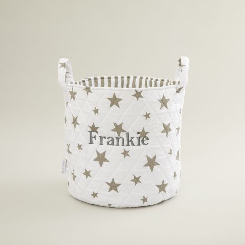 Personalised Medium White Star Storage Bag