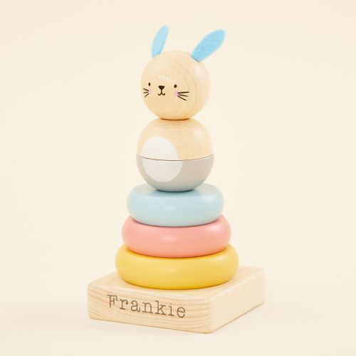 Personalised Wooden Bunny Stacker Toy