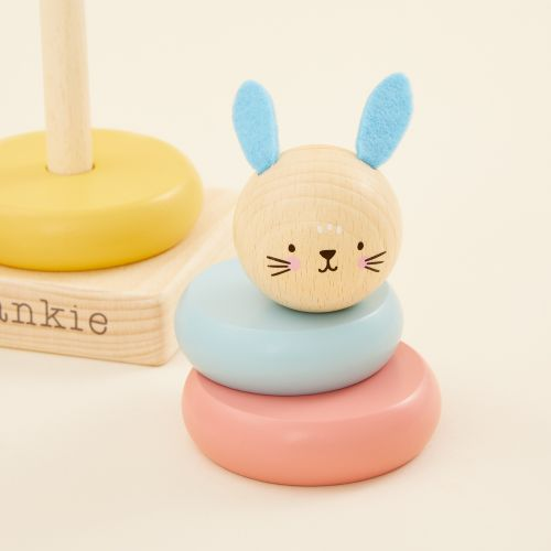 Personalized Wooden Bunny Stacker Toy