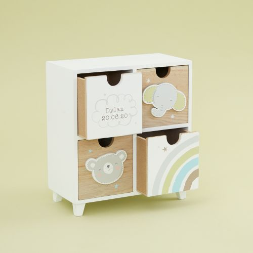 Personalized Bear and Elephant Baby Keepsake Drawers