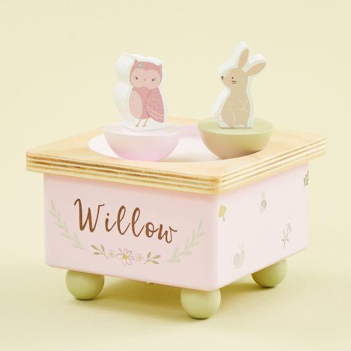 Personalized Wooden Woodland Animals Music Box