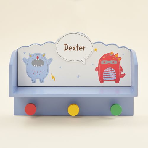Personalised Little Monster Wooden Shelf with Hooks