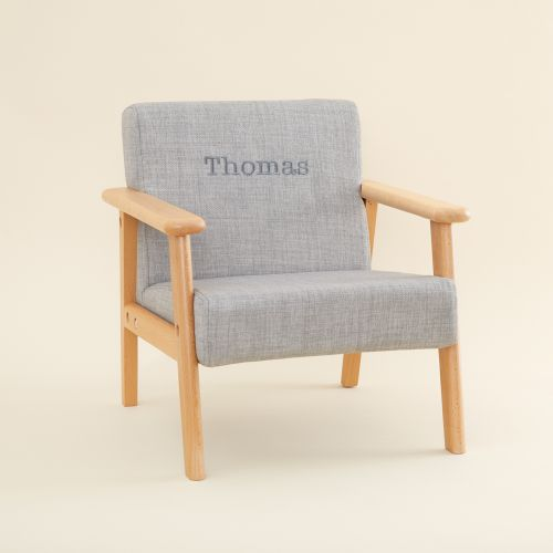 Personalized Gray Children's Arm Chair
