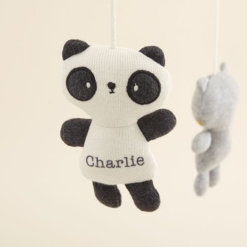 Personalised Panda Design Organic Cot Mobile
