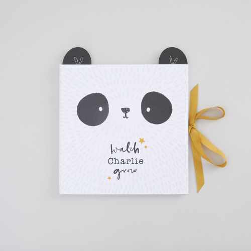 Personalized Monochrome Panda Design Baby Record Book