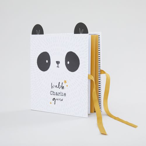 Personalised Monochrome Panda Design Baby Record Book