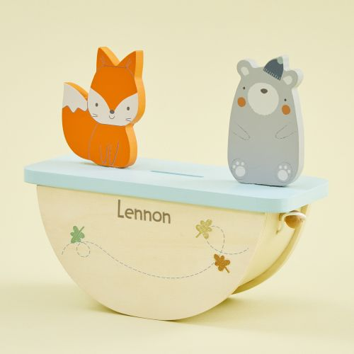 Personalised Woodland Animals Rocking Money Box