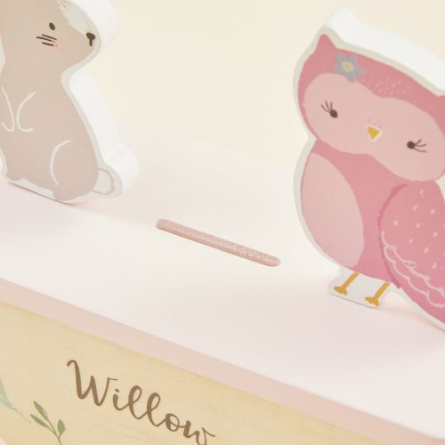 Personalised Wooden Bunny and Owl Rocking Money Box