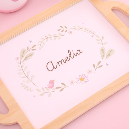 Personalized Pink Wooden Tea Set Toy