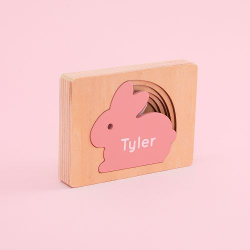 Personalized Pink Bunny Puzzle Toy