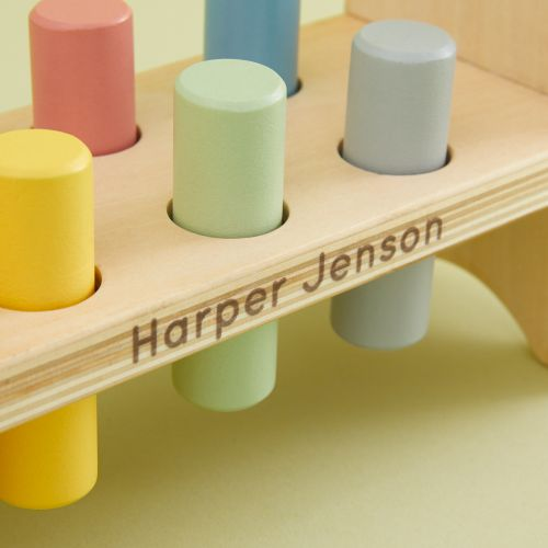 Personalized Wooden Hammer Bench Toy
