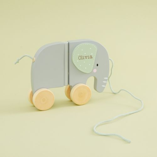 Personalized Gray Elephant Wooden Pull-along Toy