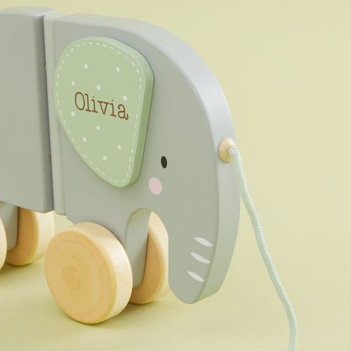 Personalised Grey Elephant Wooden Pull-along Toy