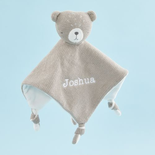Personalized Taupe Knitted Bear Lovey