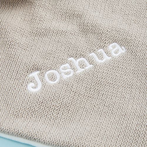 Personalised Taupe Knitted Bear Comforter