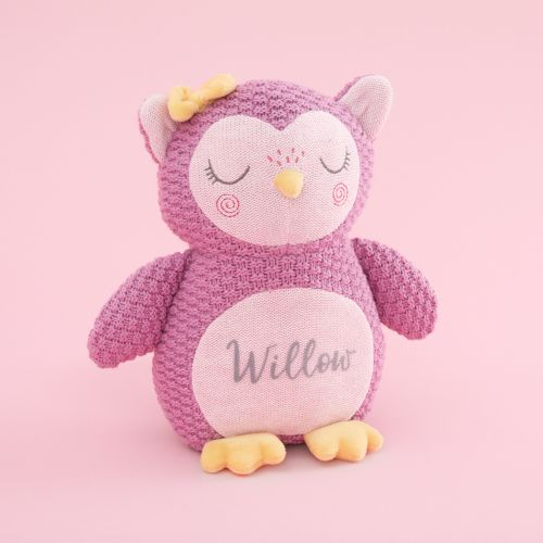 Personalized Pink Knitted Owl Stuffed Animal
