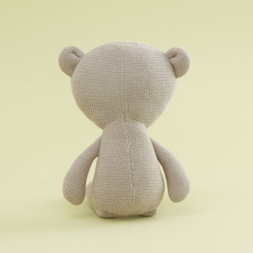 Personalized Taupe Knitted Bear Stuffed Animal