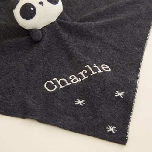 Personalized Monochrome Panda Organic Lovey