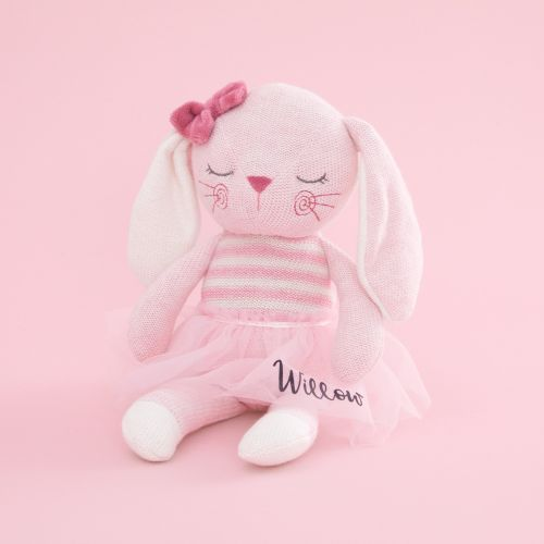 Personalized Pink Knitted Bunny Stuffed Animal
