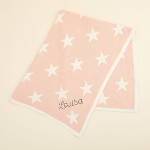 Personalised Pink Star Intarsia Blanket