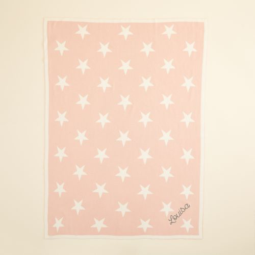 Personalized Pink Star Intarsia Blanket