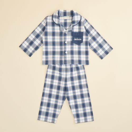 Personalized Traditional Navy Check Pajamas