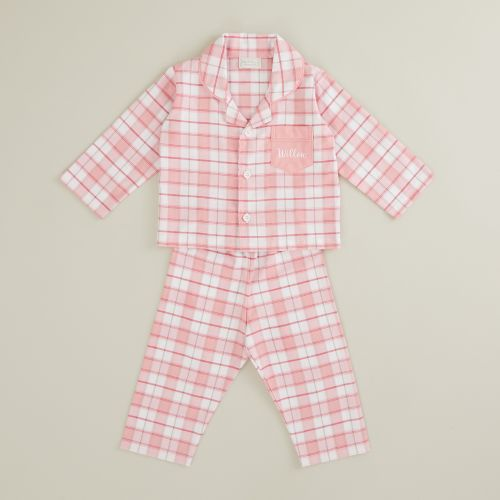 Personalised Traditional Pink Check Pyjamas