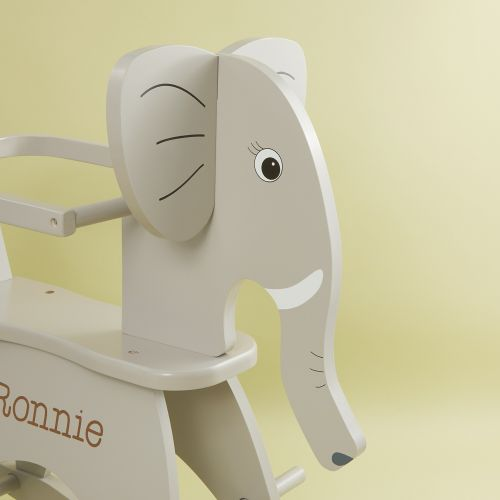 Personalised Childhome Grey Wooden Elephant Rocker