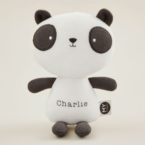 Personalized Black and White Knitted Panda Soft Toy