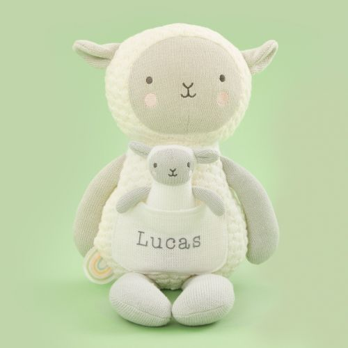 Personalized 'Ewe and Me' Knitted Sheep Soft Toy