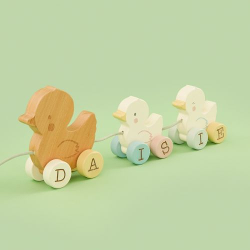 Personalised Wooden Pull Along Duck Toy