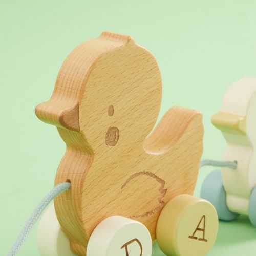 Personalized Wooden Pull Along Duck Toy