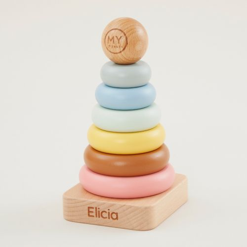 Personalised Rainbow Wooden Stacker Toy